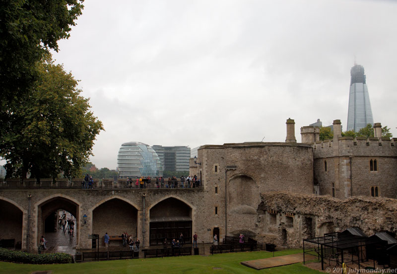 View to London City Hall over Tower walls