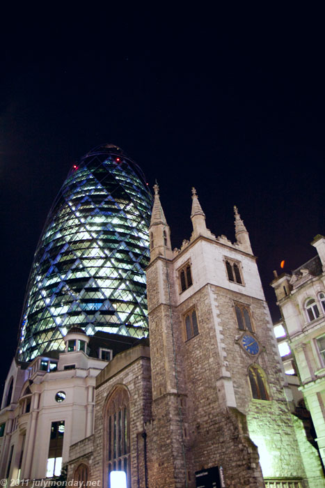 The Gherkin and St Andrew Undershaft Church