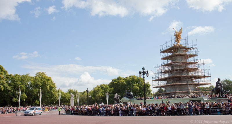 Crowd gathering for the Changing the Guard at Buckingham Palace